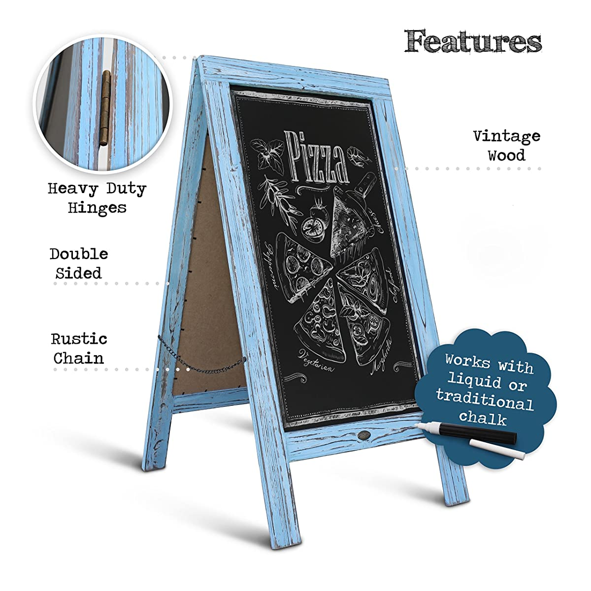 Rustic Robin Blue A-Frame Chalkboard / Sidewalk Chalkboard Sign / Large Sturdy Sandwich Board / A Frame Restaurant Message Board / Freestanding Wooden Menu Display Sign