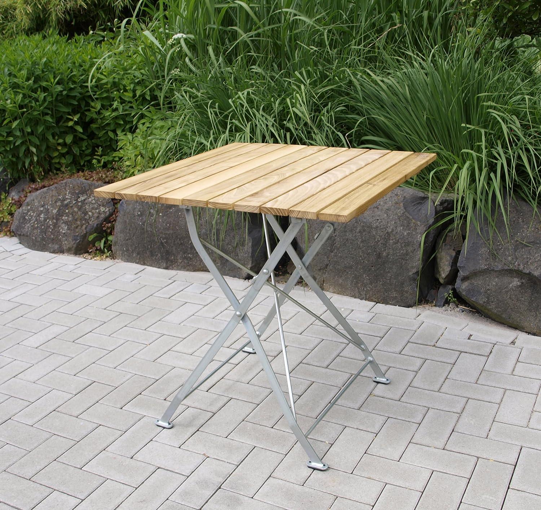 Klapptisch Bad Tölz 70x70cm, Stahl verzinkt + Robinienholz