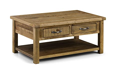 Julian Bowen Aspen Rough Sawn Coffee Table with 2 Drawers, Wood, Reclaimed Pine