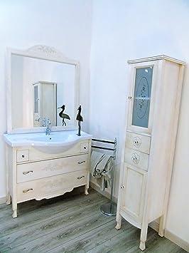 Arredo bagno avorio decape + colonna bagno con ante in vetro decorato