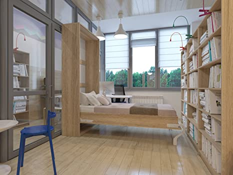 Schrankbett 90cm Vertikal Eiche Sonoma SMARTBett SMART Punkt Kaltschaummatratze 90x200cm