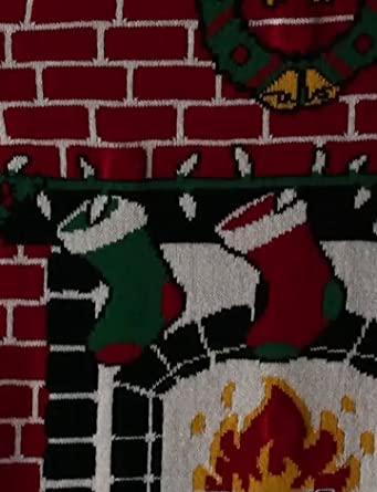 The Ugly Christmas Sweater Kit Men 39 S Fireplace Is Lit Light Up Sweater At Amazon Men S Clothing