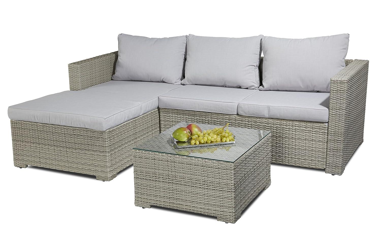Hochwert. Polyrattan Sitzgruppe 3 tlg inkl Kissen Alu Gestell Lounge Garten Sofa bestellen