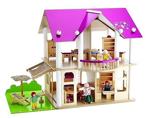 Eichhorn - 100002513 - Jeu Construction bois - Maison de poupée avec meubles et figurines - 75 Blocs Bois