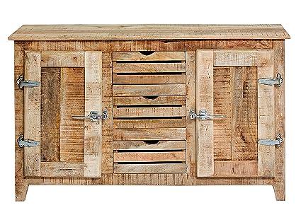"Sit-Möbel 2503-01 cómoda ""Frigo"", 150 x 45 x 85 cm, mango-madera maciza, con nevera asas, madera lacada"