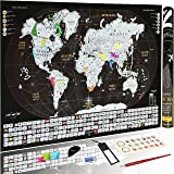 Premium Scratch Off World Map| Deluxe Detailed Tracker Travel Poster Personalized w/ Flags, US States Outlined, Sticker & Push Pins For Travelers| Dark Silver & Black Edition|Perfect Gift by Zoptica