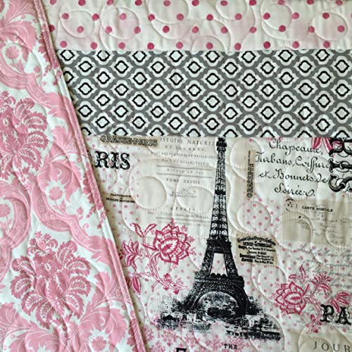 1 Baby Quilt Paris theme chic modern and reversible.