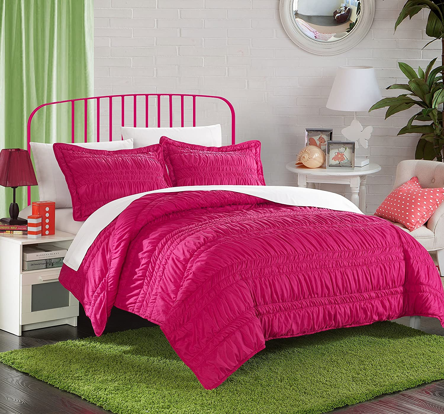 Chic Home 3 Piece Dreamer Super Soft Microfiber Pleated Ruffled Technique Quilt Set, Full, Fuchsia