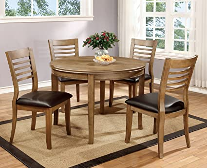 Furniture of America Dekina 5-Piece Round Dining Table Set, Natural Finish