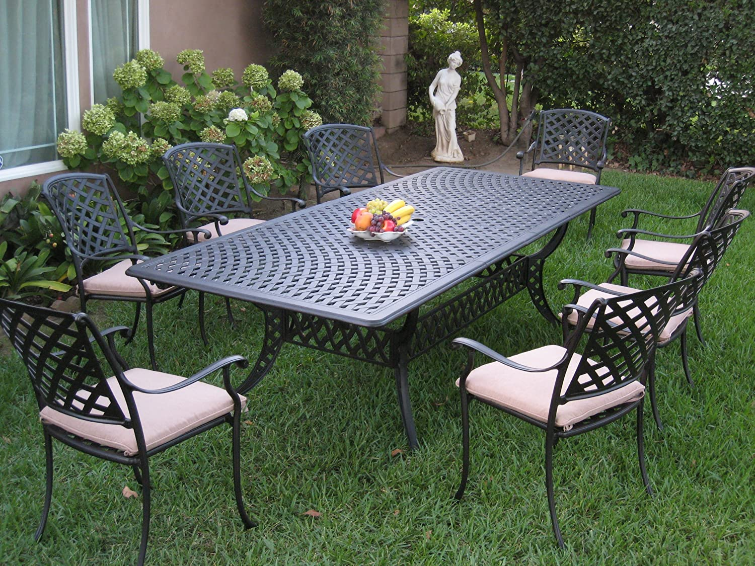Cast aluminum patio furniture 9 piece extension dining for Aluminum patio furniture