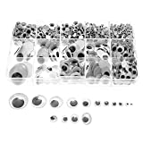 Variety Value Pack SANC 1 box/lot (approx.1120 pcs) 0.16 inches (4mm) to 1 inch (25mm) round Plastic self-adhesive black googly wiggle eyes Wide Variety Assorted Sizes (Color: Black)