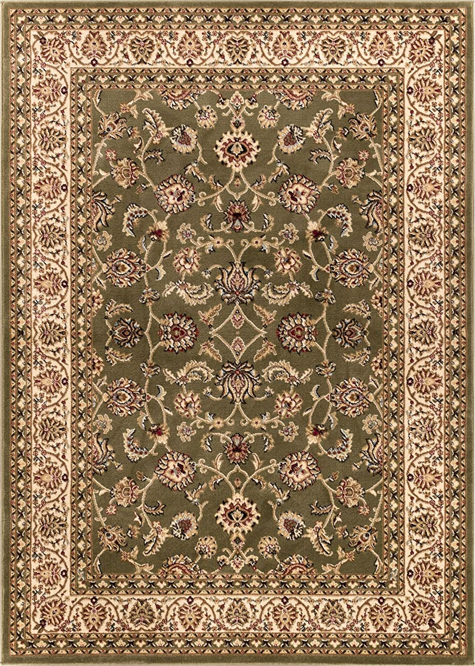 Antique Classic Green 3'11'' x 5'3'' Area Rug Oriental Floral Motif Detailed Classic Pattern Persian Living Dining Room Bedroom Hallway Office Carpet Easy Clean Rug Traditional Soft Plush Quality 1