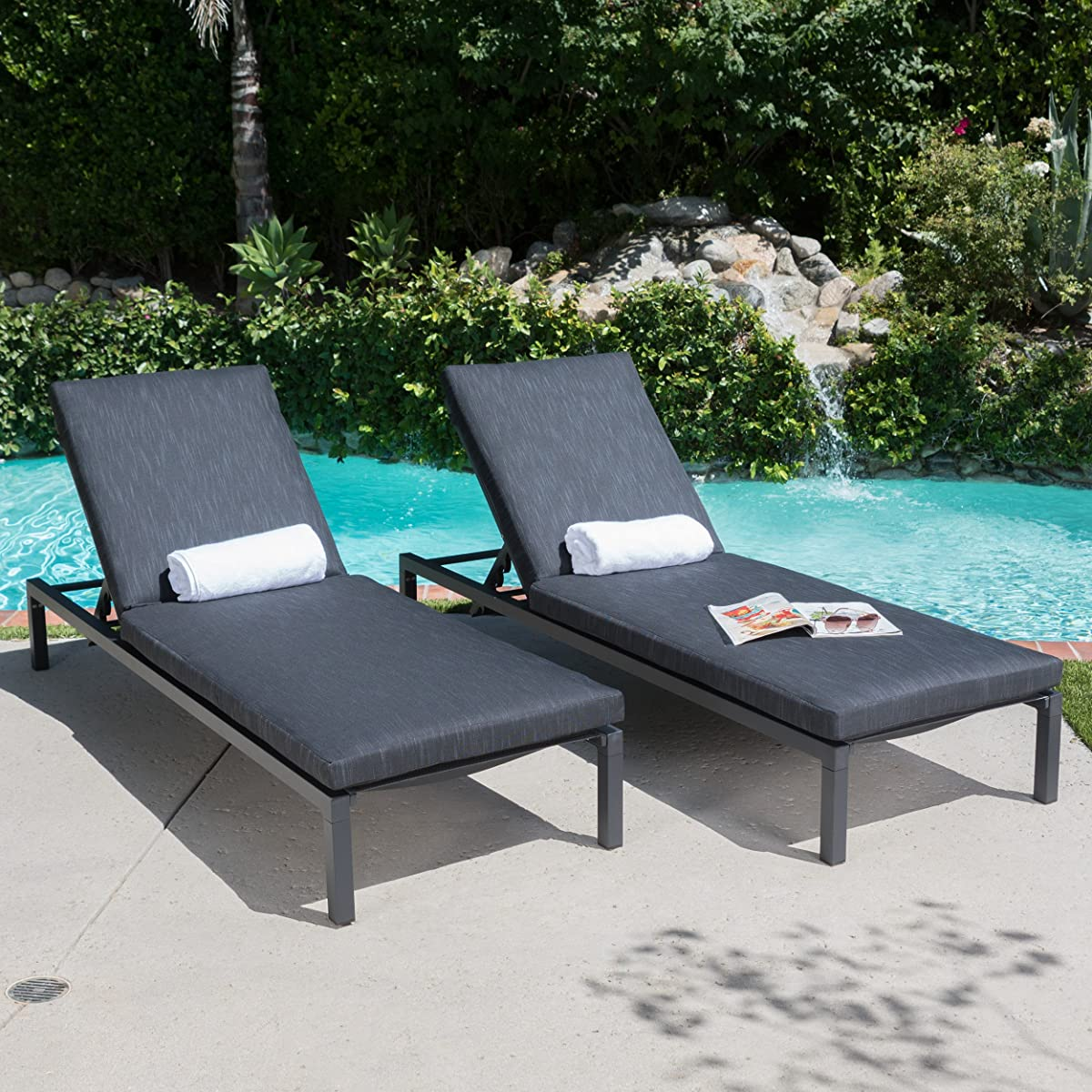 Nealie Outdoor Mesh Black Aluminum Frame Chaise Lounge w/ Water Resistant Cushion (Set of 2)