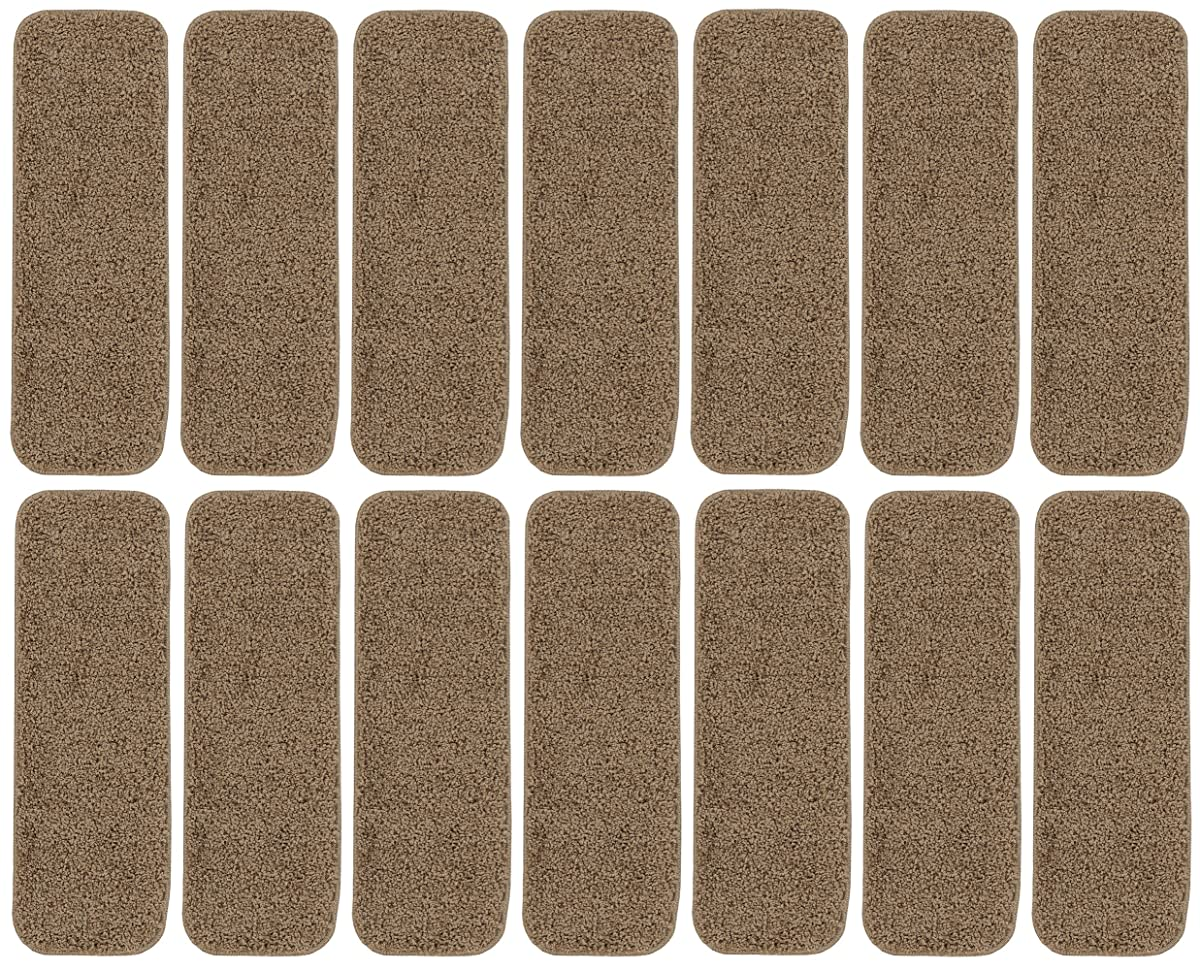 "Ottomanson Comfort Collection Soft Solid (Non-Slip) Plush Carpet Stair Treads, 14 Pack, 9"" x 26, Camel"