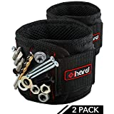 Magnetic Wristband - 10 Strong Magnets Wrist Band Tools Holder with Adjustable Strap Best for Holding Nails, Screws, Drill Bits, Pins, Bolts - Dad Unique DIY Handyman Gift, Fathers Day (2 Pack, Black)