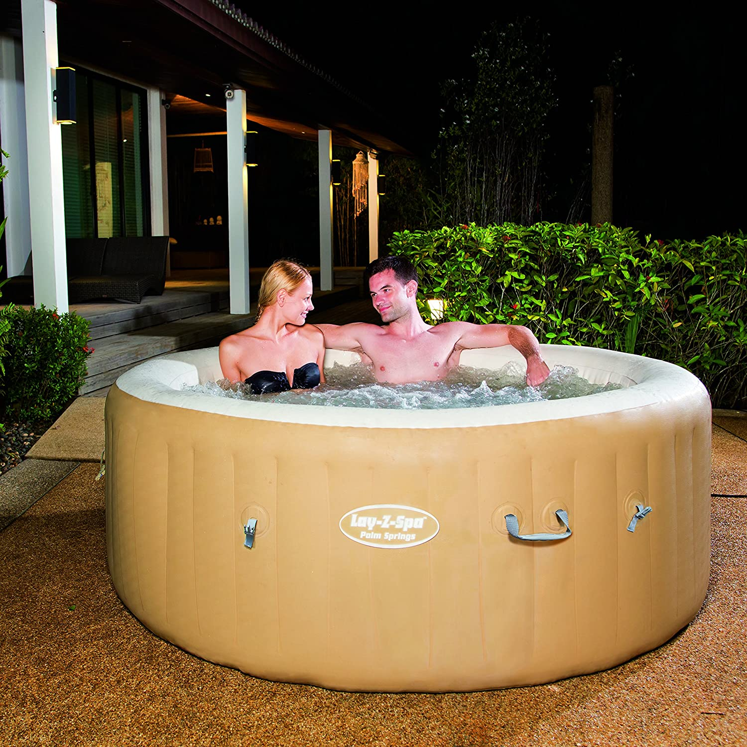 The Lay-Z-Spa 54129 Palm Springs is possibly the best blow up hot tub available on the market right now.