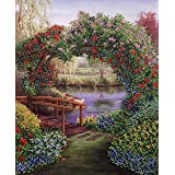 AllAboutEmbroideryUA Bead Embroidery kit Silent Landscape Beaded Cross Stitch Flowers Needlepoint Handcraft Tapestry kit (Tamaño: Small)