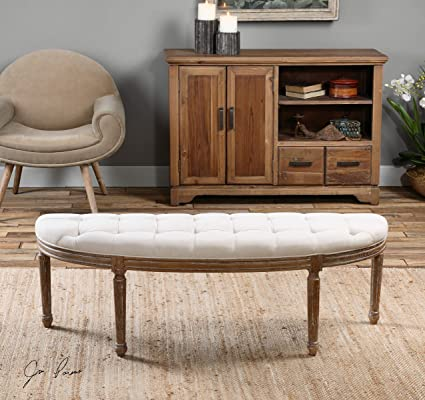 Off White Demilune Bench | Tufted Solid Wood Comfortable