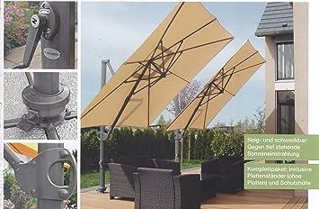 ampelschirm easy sun parasol premium ca 3 5m von sun garden farbe gestell anthrazit bezug. Black Bedroom Furniture Sets. Home Design Ideas