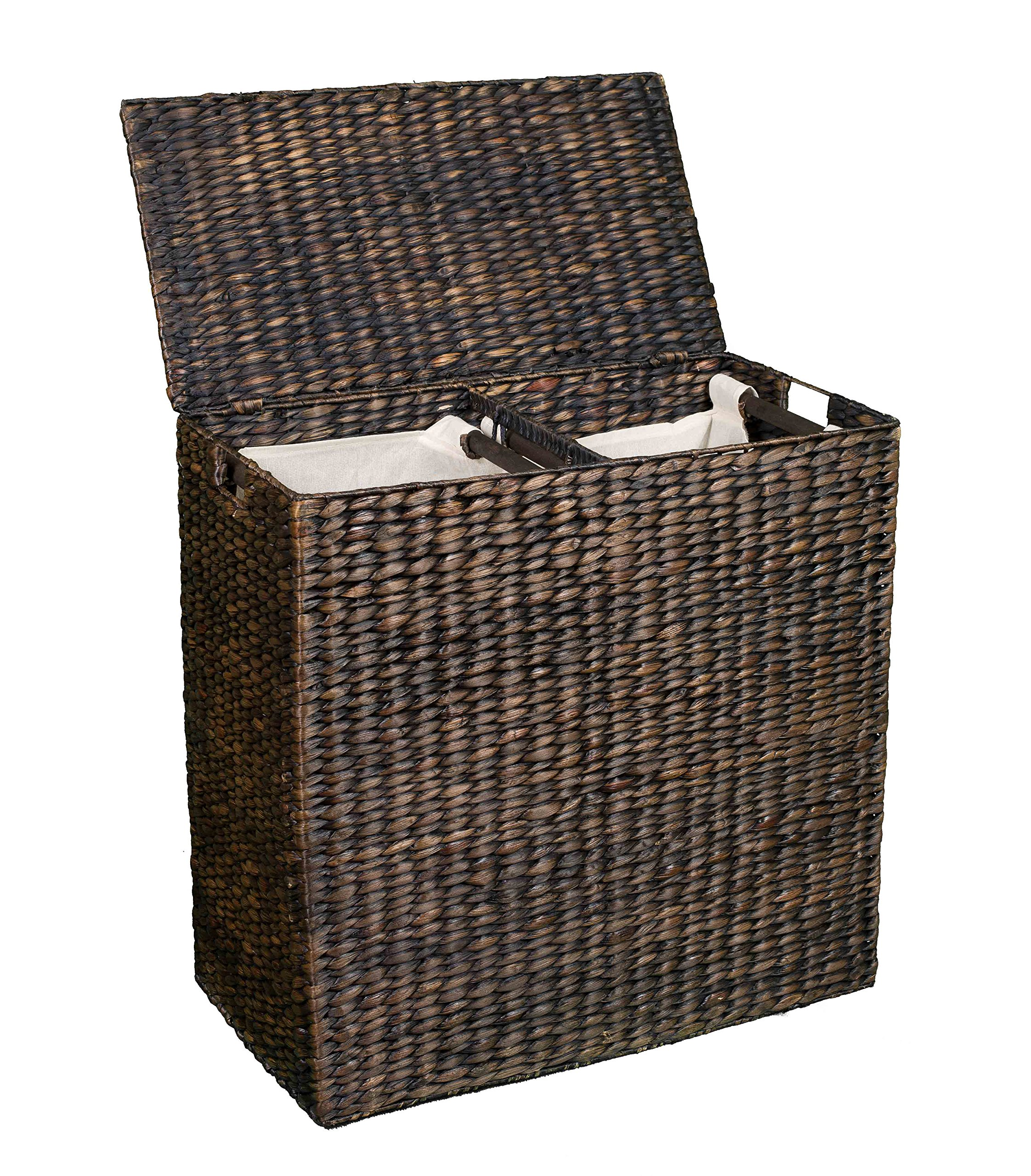 Birdrock home water hyacinth laundry hamper with divided - Divided laundry hampers ...