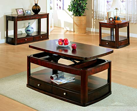 DARK CHERRY END TABLE WITH ONE DRAWER (SIZE: 27L X 24W X 24H)