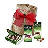 Cavalier chocolate variety by The Yummy Palette | Cavalier chocolate with Stevia Cavalier Belgian chocolate in Basically British Burlap Bag