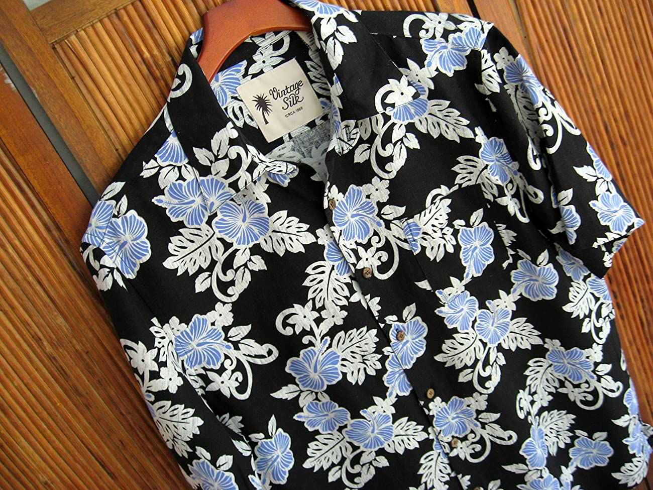 Mens Hawaiian Silk Camp Shirt Black Blue Hibiscus Casual 1