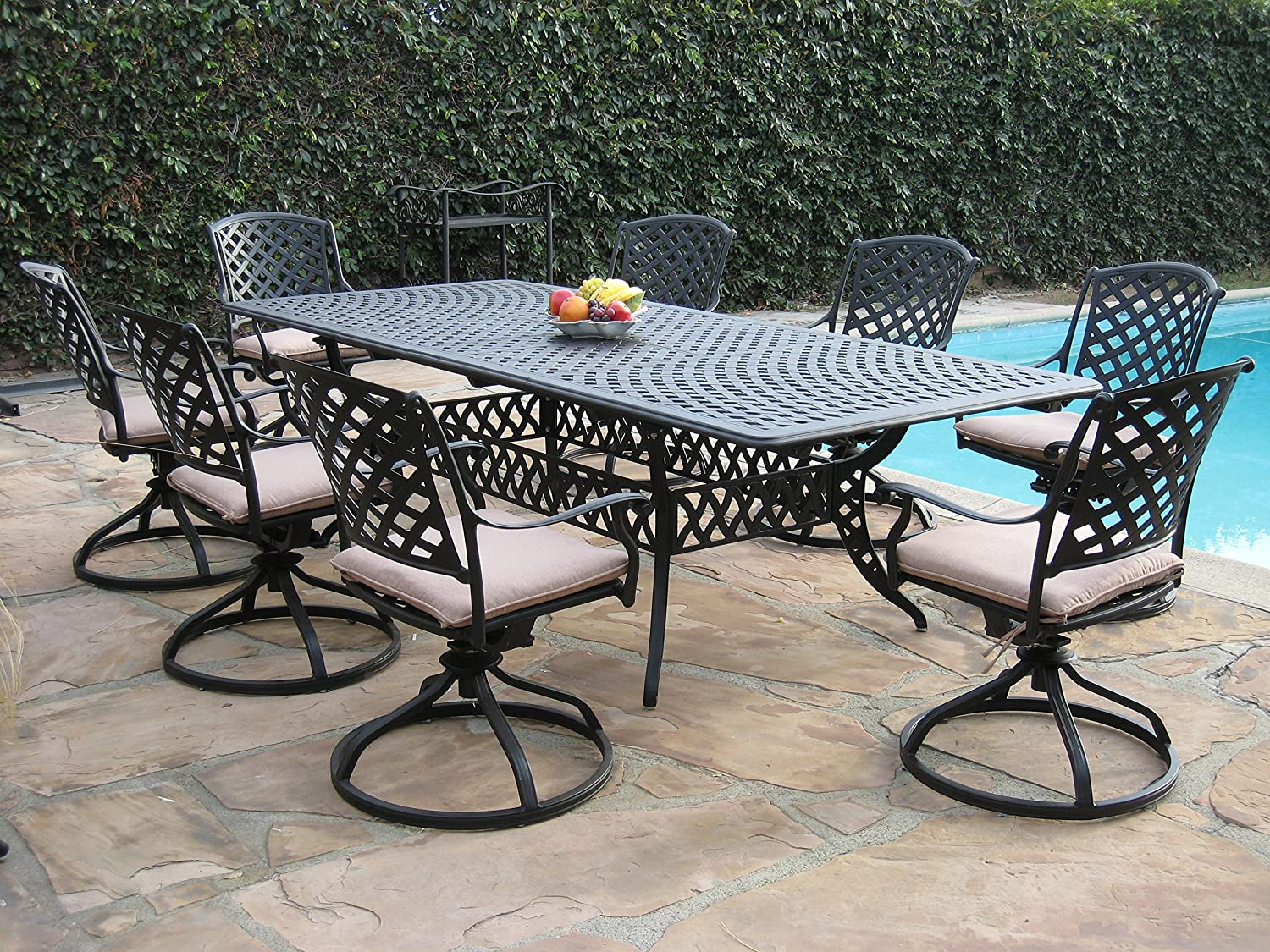Cast Aluminum Patio Furniture 9 Pc Extension Dining Table