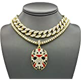 Shiny Jewelers USA Mens Iced Out Rapper Mask Hip Hop Pendant 1 Row CZ Tennis Miami Cuban Link Chain Necklace (CZ Cuban/1 Row Gold 16