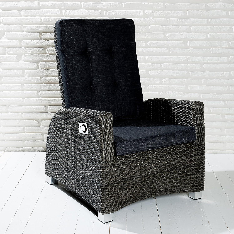 6 XL Luxus Rocking Chair Polyrattan Saint-Tropez Gartensessel grau Gartenstuhl
