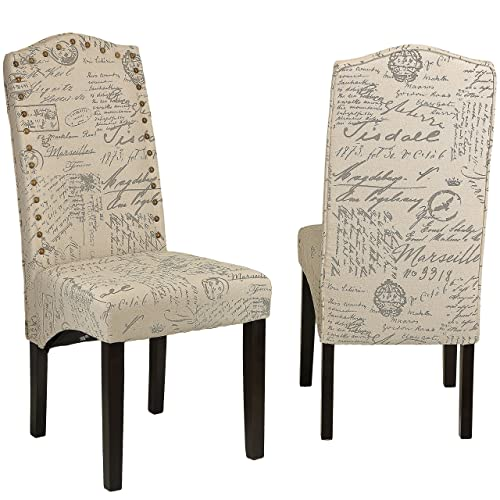 Cortesi Home Miller Dining Chair in Beige Script fabric, Set of 2, Beige