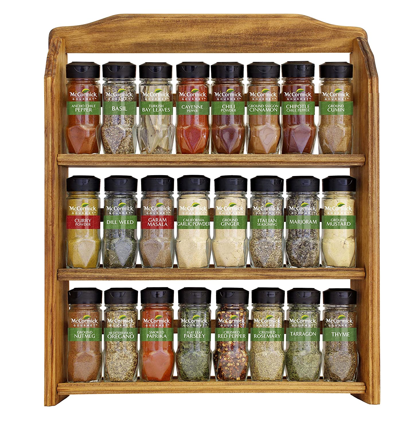 Three Tier Wood Rack 24 McCormick Gourmet Spice Count New
