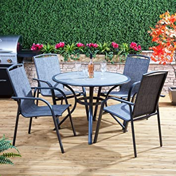 Alfresia Arizona Round Aluminium & Textoline Garden Dining Set