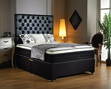 """Luxury Buckingham Divan Base with 12"""" deep 2000 pocket sprung memory foam mattress, 2 drawers one on either side and designer headboard- black chenille (4FT6 Double)"""