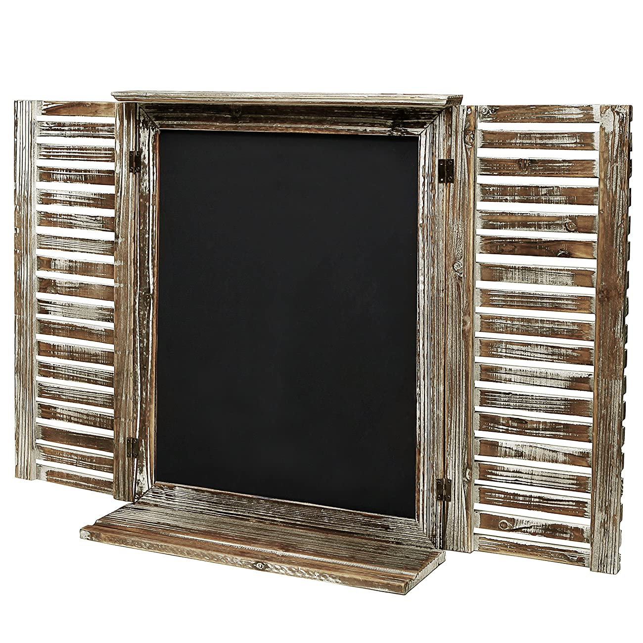 MyGift Rustic Standing Chalkboard with Folding Shutter Doors, Torched Wood Finish 0