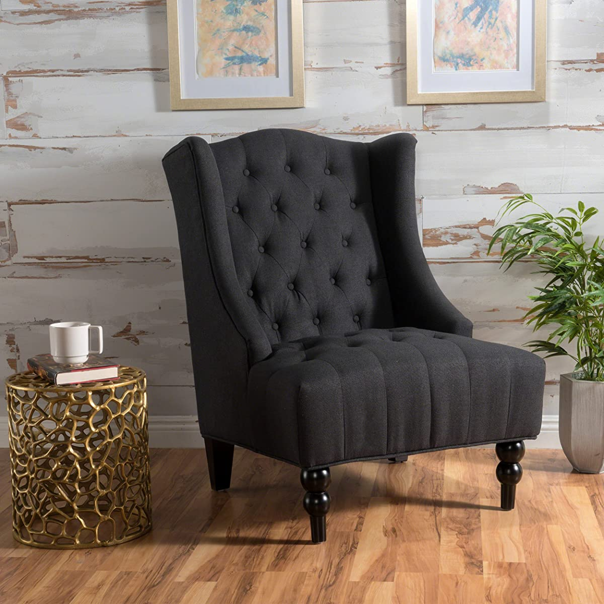 Clarice | Tall Wingback Fabric Club Chair | Perfect For Living Room | Dark Charcoal