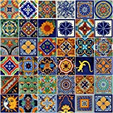 Color y Tradicion Mexican Tiles 4x4 Handpainted Hundred Pieces Assorted Designs (Color: Mixed Color)