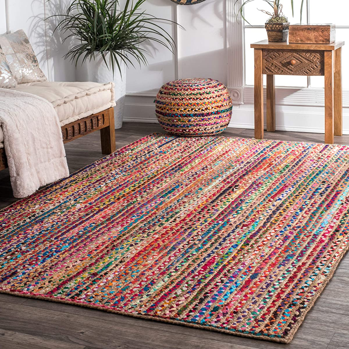 nuLOOM 200MGNM05A-609 Aleen Braided Cotton/Jute Area Rug, 6 x 9