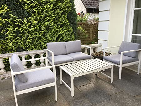 SoBuy® Set Mobili da Giardino,4pz Set Tavolo e Sedie da Giardino ,con cuscini,OGT06,IT