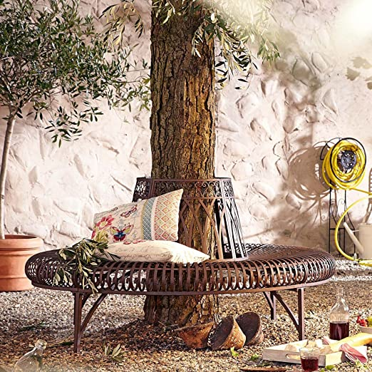 Banc de jardin banc d'arbre en fer marron style antique demi-cercle de 148 x 74 x 78 cm