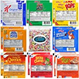 Kellogg's & General Mills Cereal Bowl Variety - Apple Jacks, Mini Wheats, Corn Pops, Special K, Frosted Flakes, Honey Nut Cheerios, Lucky Charms, Reese's Puffs + 1 Bag of Cereal Marshmallows