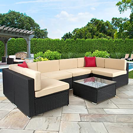 This seven-piece outdoor patio furniture set comes complete with a table  with glass top, six sofa chairs that can be configured how you like, 16  cushions, ... - The 50 Best Patio Furniture Sets & Pieces Of 2019 - Family Living Today