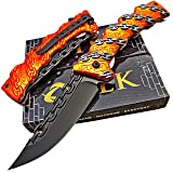 TEK Everyday Carry Ultra Smooth One Hand Opening Folding Pocket Knife - Ideal for Recreational Work Hiking Camping (Color: Orange)