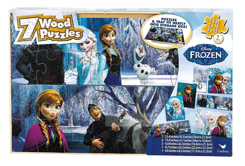 Disney Frozen 7 Wood Puzzles in Wood Storage Box