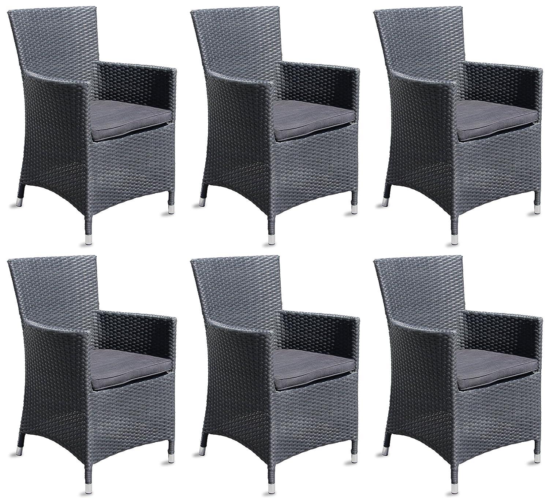 6x Hochwertiger Polyrattan Gartenstuhl Sessel Rattan Stuhl Gartenstühle Gartenmöbel Schwarz online kaufen