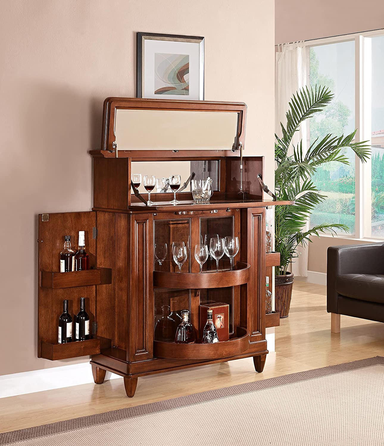 Wood home dining room bar cabinet furniture bottle stemware storage glass door ebay Home bar furniture amazon
