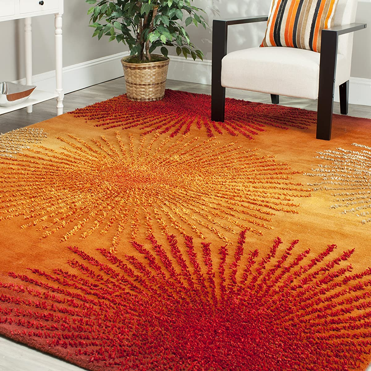 Safavieh Soho Collection SOH712R Handmade Fireworks Rust and Multicolored Premium Wool Area Rug (5 x 8)