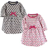 Touched by Nature Baby Girls' Organic Cotton Dress, 2 Pack, Trellis, 2 Toddler