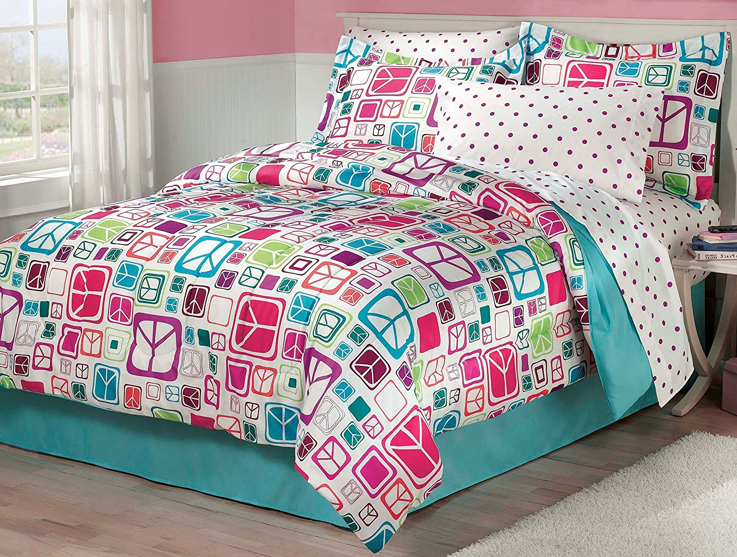 My Room Peace Out Girls Comforter Set With Bedskirt, Teal