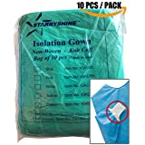Dental Medical Latex Free Disposable Isolation Gowns Knit Cuff Non Woven | Fluid Resistant (10 Gowns/Pack, Green) (Color: Green, Tamaño: 10 Gowns / Pack)